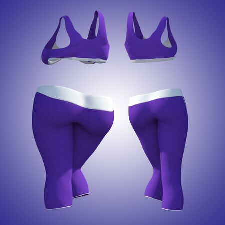 Conceptual fat overweight obese female pants and bra vs slim fit healthy body after weight loss or diet thin young woman on purple. A fitness, nutrition or fatness obesity health shape 3D illustration