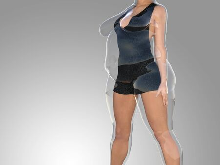 Conceptual fat overweight obese female vs slim fit healthy body after weight loss or diet with muscles thin young woman on gray. A fitness, nutrition or fatness obesity, health shape 3D illustration 写真素材 - 133632981