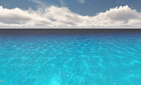 Beautiful tranquil natural vacation seascape with scenic ocean waves in tropical environment, deep clear transparent pure blue water background. A summer travel in paradise, peaceful 3D illustration Archivio Fotografico - 133965191