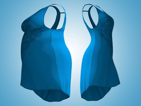 Conceptual fat overweight obese female dress outfit vs slim fit healthy body after weight loss or diet thin young woman on blue. A fitness, nutrition or fatness obesity health shape 3D illustration Standard-Bild - 134422982