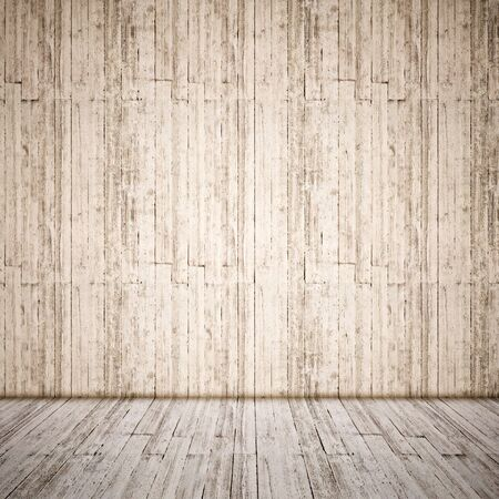 Concept or conceptual vintage or grungy brown background of natural wood or wooden old texture floor and wall as a retro layout. A 3d illustration metaphor to time, material, emptiness,  age or rust