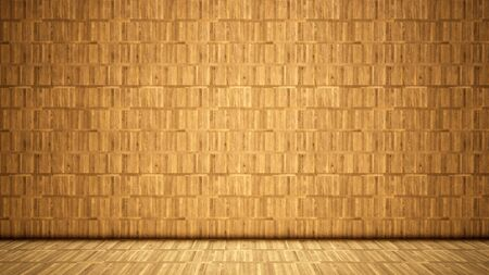 Concept or conceptual vintage or grungy beige background of natural wood or wooden old texture floor and wall as a retro pattern layout. A 3d illustration metaphor to time, material, emptiness,  age or rust