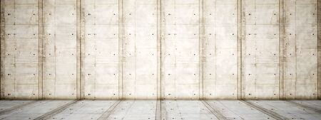 Concept or conceptual solid and rough beige background of concrete floor and wall as a vintage pattern layout. A 3d illustration metaphor for minimalism, time and material Banco de Imagens