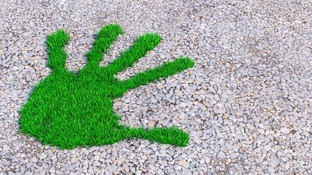 Concept or conceptual green grass handprint on gravel background. A metaphor for ecology, environment, recycle, nature conservation, spring, summer or protection against global warming 3d illustration