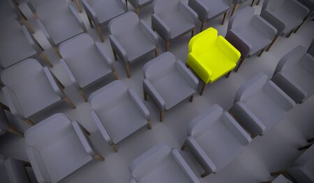 Concept or conceptual yellow armchair standing out in a  conference room as a metaphor for leadership, vision and strategy. A 3d illustration of individuality, creativity and achievement Banco de Imagens