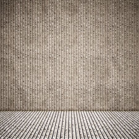 Concept or conceptual solid and rough gray background of concrete floor and wall as a vintage pattern layout. A 3d illustration metaphor for minimalism, time and material