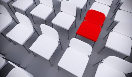 Concept or conceptual red armchair standing out in a  conference room as a metaphor for leadership, vision and strategy. A 3d illustration of individuality, creativity and achievement
