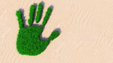 Concept or conceptual green grass handprint on sand background. A metaphor for ecology, environment, recycle, nature conservation, spring summer or protection against global warming 3d illustration Banco de Imagens