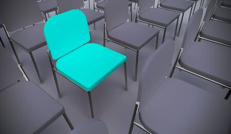 Concept or conceptual blue armchair standing out in a  conference room as a metaphor for leadership, vision and strategy. A 3d illustration of individuality, creativity and achievement