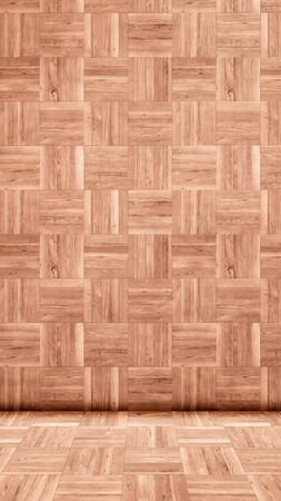 Concept or conceptual vintage or grungy brown background of natural wood or wooden old texture floor and wall as a retro pattern layout. A 3d illustration metaphor to time, material, emptiness,  age or rust Banco de Imagens
