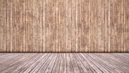 Concept or conceptual vintage or grungy brown background of natural wood or wooden old texture floor and wall as a retro pattern layout. A 3d illustration metaphor to time, material, emptiness,  age or rust Stock fotó