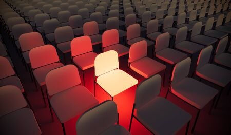 Concept or conceptual orange armchair standing out in a  conference room as a metaphor for leadership, vision and strategy. A 3d illustration of individuality, creativity and achievement