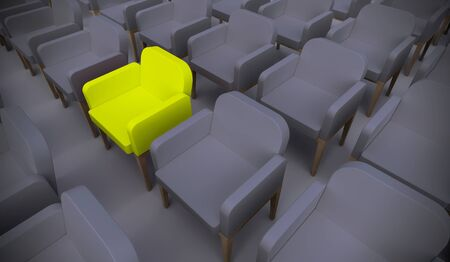Concept or conceptual yellow armchair standing out in a  conference room as a metaphor for leadership, vision and strategy. A 3d illustration of individuality, creativity and achievement 版權商用圖片