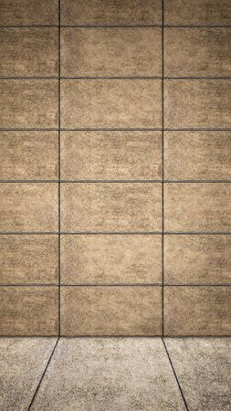 Concept or conceptual solid and brown rough background of concrete floor and wall as a vintage pattern layout. A 3d illustration metaphor for minimalism, time and material