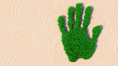 Concept or conceptual green grass handprint on sand background. A metaphor for ecology, environment, recycle, nature conservation, spring summer or protection against global warming 3d illustration Stock Illustration - 138548950
