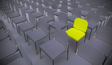 Concept or conceptual yellow armchair standing out in a  conference room as a metaphor for leadership, vision and strategy. A 3d illustration of individuality, creativity and achievement Stockfoto