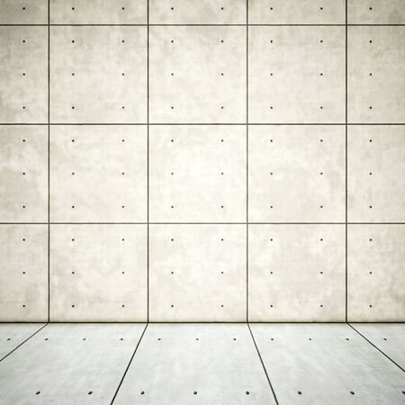 Concept or conceptual solid and white rough background of concrete floor and wall as a vintage pattern layout. A 3d illustration metaphor for minimalism, time and material