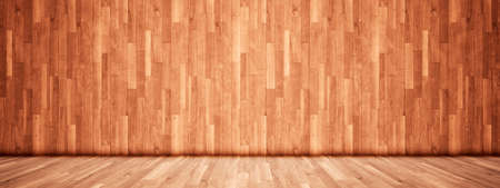 Concept or conceptual vintage or grungy brown background of natural wood or wooden old texture floor and wall as a retro pattern layout. A 3d illustration metaphor to time, material, emptiness,  age or rust Archivio Fotografico