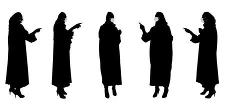Vector concept conceptual silhouette women working while social distancing as means of prevention and protection against coronavirus contamination. A metaphor for the new normal.