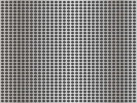 Concept conceptual gray abstract metal stainless steel aluminum perforated pattern texture mesh background as metaphor to industrial, abstract, technology, grid, silver, grate, spot, grille surface Standard-Bild