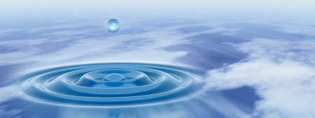 Conceptual blue liquid drop falling in water with ripples and waves banner