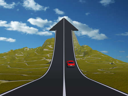 Concept or conceptual 3D red car on arrow road pointing up,upward over a mountain to sky background, metaphor to success, business, future, transportation, progress, increase, growth, goal challenge Standard-Bild