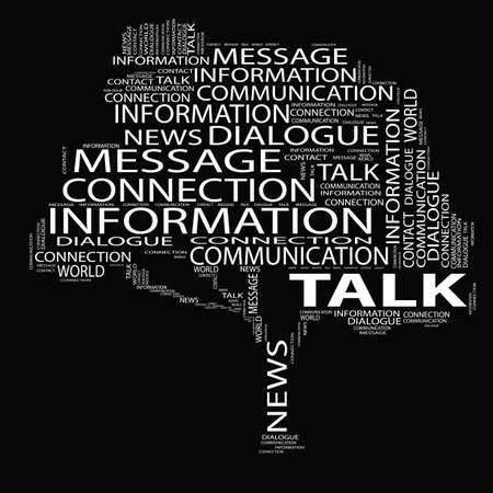 Concept or conceptual white tree talk word cloud on black background wordcloud metaphor for communication, speech, message, mail, relation, dialog, talk, report, contact, stair, climb, email, internet