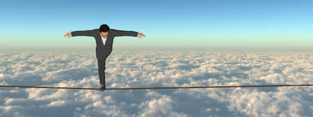 Conceptual of 3D businessman  in crisis walking in balance on rope above clouds sky background, metaphor to business, danger, isk, finance, fall, dangerous, equilibrium, hazard or success