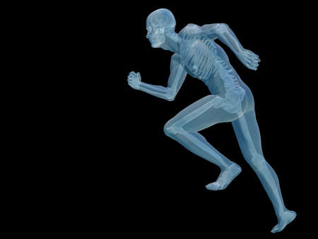 Conceptual 3D human man anatomy or health design, joint or articular pain, ache or injury isolated on black  background  for anatomy and health designs, isolated on black background