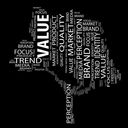 oncept or conceptual tree word cloud on black background as metaphor for business, brand, trend, media, focus, market, value, product, advertising or customer. Also for corporate wordcloud Standard-Bild