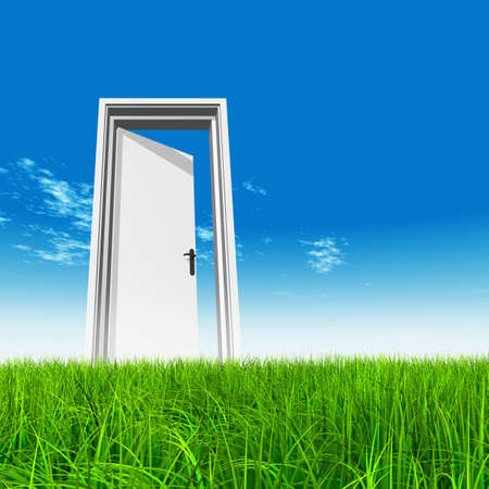 Green, fresh and natural 3d conceptual grass over a blue sky background, a opened door at horizon ideal for religion, home, recreation, faith, business, success, opportunity or future