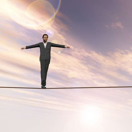 Conceptual concept of 3D businessman or man in crisis walking in balance on rope above  clouds sky background  for business, danger, risk, risky, finance, fall, equilibrium, hazard or success Standard-Bild