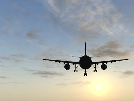 Concept or conceptual black plane, airplane or aircraft silhouette flying over sky at sunset or sunrise background metaphor to air, travel, transportation, jet, flight, transport, business, vacation,