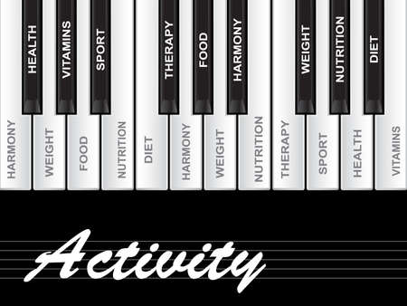 Concept or conceptual white text word cloud tagcloud as piano keys isolated on white background as metaphor for health, nutrition, diet, wellness, body, energy, medical, sport, heart science