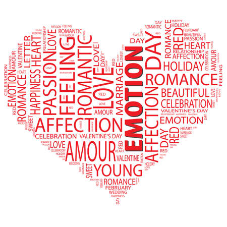 Concept or conceptual red wordcloud or text in shape of heart isolated on white background as metaphor to love,romance, passion, romantic, emotion, marriage, valentine, desire, friendship or affection