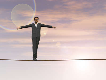 Conceptual concept of 3D businessman or man in crisis walking in balance on rope above  clouds sky background for business, danger, risk, risky, finance, fall, equilibrium, hazard or success