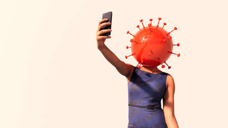 Concept or conceptual 3d illustration of a business woman checking her phone and coronavirus on a white background as a metaphor for the impact of the lockdown on the economy, finance and investment Standard-Bild