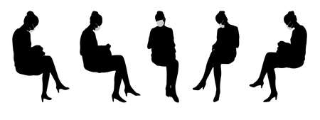 Vector concept or conceptual  silhouette women talking to each other as means of prevention and protection against coronavirus contamination. A metaphor for the new normal.