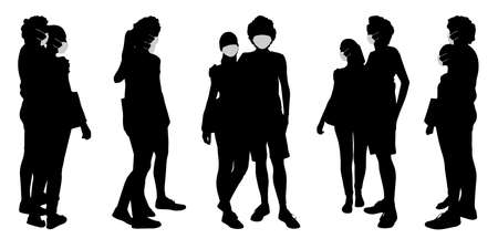 Vector concept conceptual  silhouette couples spending time together while social distancing as means of prevention and protection against coronavirus contamination. A metaphor for the new normal.