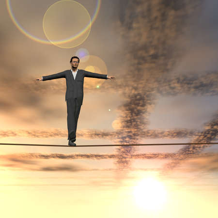 Conceptual concept of 3D businessman or man silhouette in crisis walking in balance on rope over sunset sky background for business, danger, risk, risky, finance, fall, equilibrium, hazard or success Banco de Imagens - 156190227