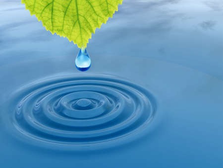 Concept or conceptual clean spring water or dew drop falling from a green fresh leaf on 3D illustration blue clear water making waves Standard-Bild