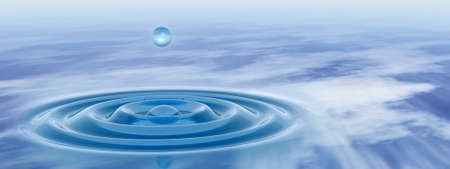 Concept or conceptual blue liquid drop falling in water with ripples and waves, ideal for nature, natural, summer, spa, cool, business, environment or health design