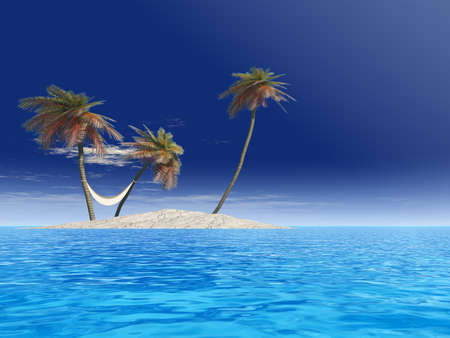 Concept or conceptual isolated exotic island with palm trees with hammock and sand in the sea or ocean over blue sky background with white clouds for tropical, hot, vacation, relax, leisure or tourism