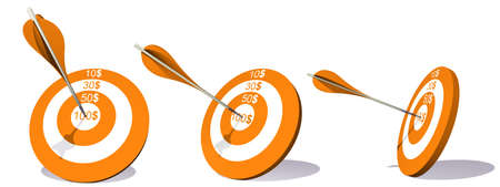 Concept or conceptual orange target with dollar and an arrow in center isolated on white background as metaphor to money, business, success, ompetition, goal, achievement, dart, luck or win