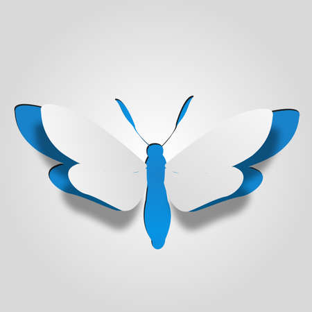 3D abstract concept or conceptual white paper with blue background butterfly shape symbol, metaphor to spring, summer, art, beauty, education, elegance, paperwork, card, creative or sticker