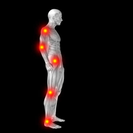 3D human or man with muscles for anatomy or health designs with articular or bones pain. A male isolated on black background Banco de Imagens - 156190619