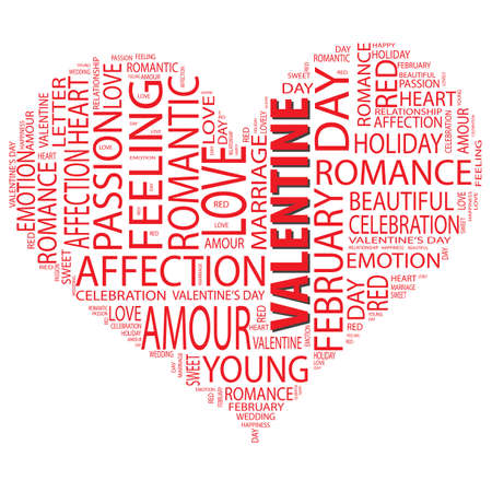 Concept or conceptual red wordcloud or text in shape of heart isolated on white background as metaphor to love, romance, passion, romantic, emotion, marriage, valentine, desire, friendship or affectio Banco de Imagens