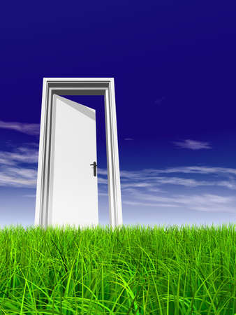 Green, fresh and natural 3d conceptual grass over a blue sky background, a opened door at horizon ideal for religion, home, recreation, faith, business, success, opportunity or future Banco de Imagens - 156190624