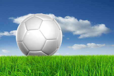 Concept or conceptual 3D soccer ball in fresh green summer or spring field grass with a blue sky background metaphor to sport, goal, competition, play, team, fun, stadium, meadow, activity soccerball Standard-Bild
