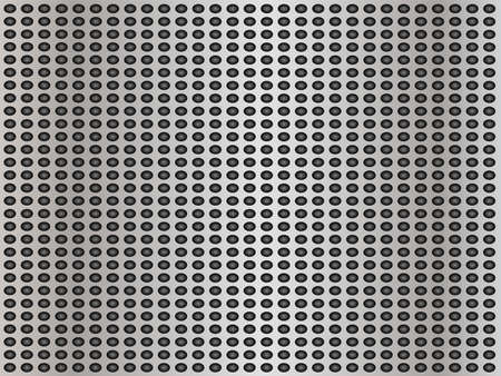 Concept conceptual gray abstract metal stainless steel aluminum perforated pattern texture mesh background as metaphor to industrial, abstract, technology, grid, silver, grate, spot, grille surface Banco de Imagens